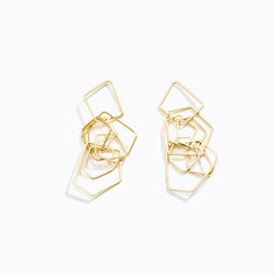 Cascading Geometric Shape Drop Earrings