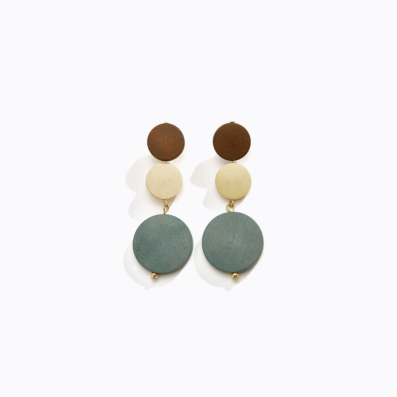 Tri-Tone Circular Drop Earrings