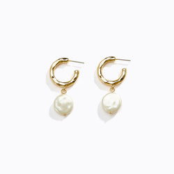Crushed Hoop & Pearl Drop Earrings