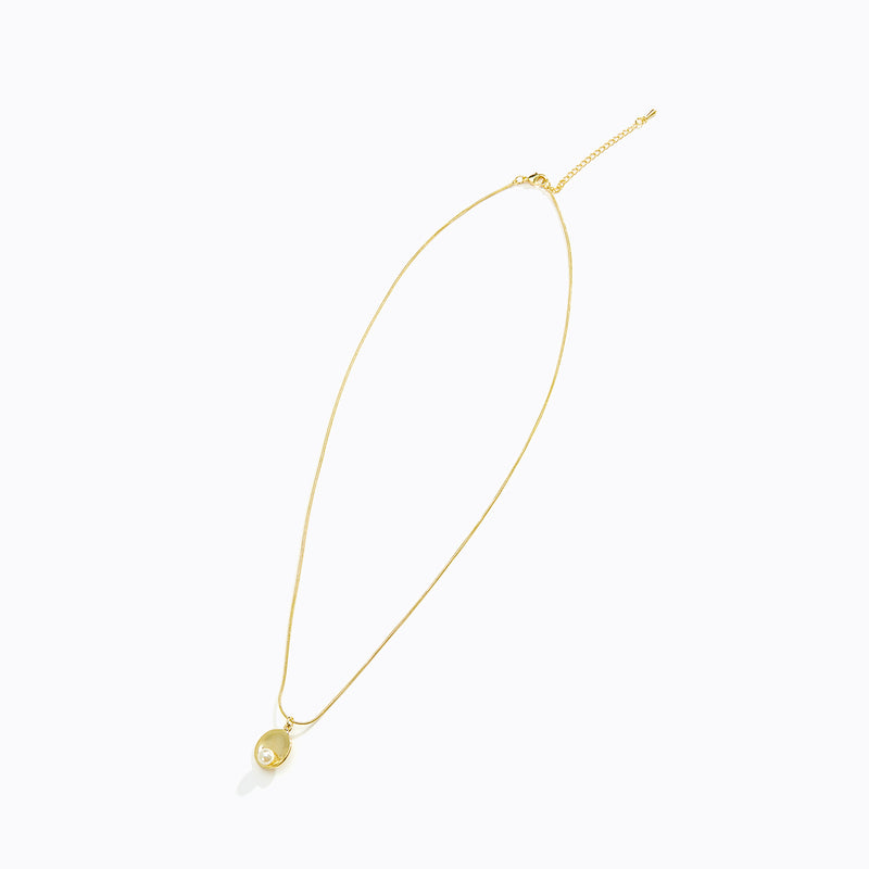 Gold Tone Curved Plate + Pearl Necklace