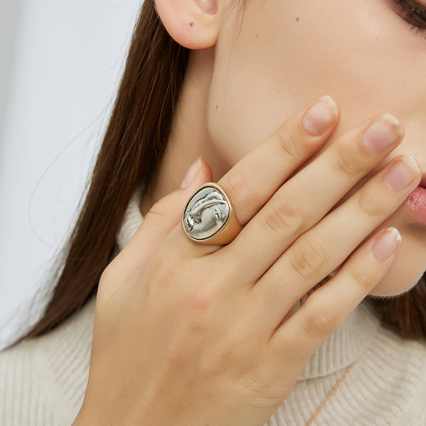 Gold + Silver Abstract Ring