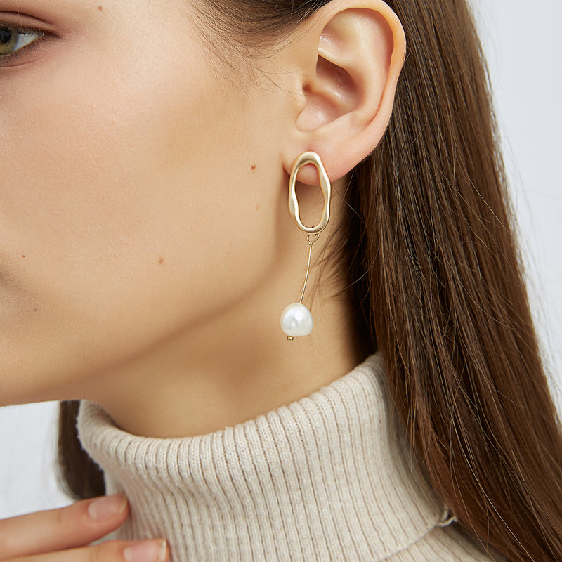 Asymmetric Oval + Pearl Drop Earrings