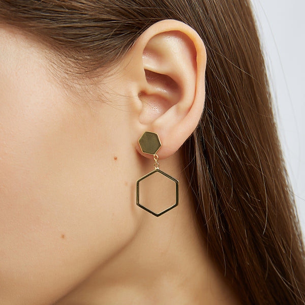 Hexagon Hoop Drop Earrings