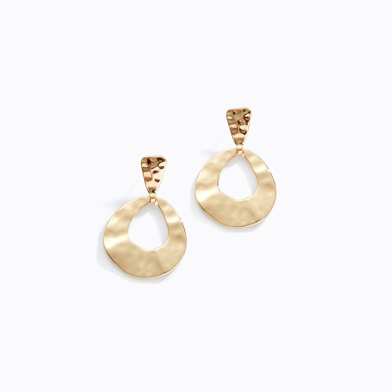 Flattened Oval Hoop Drop Earrings