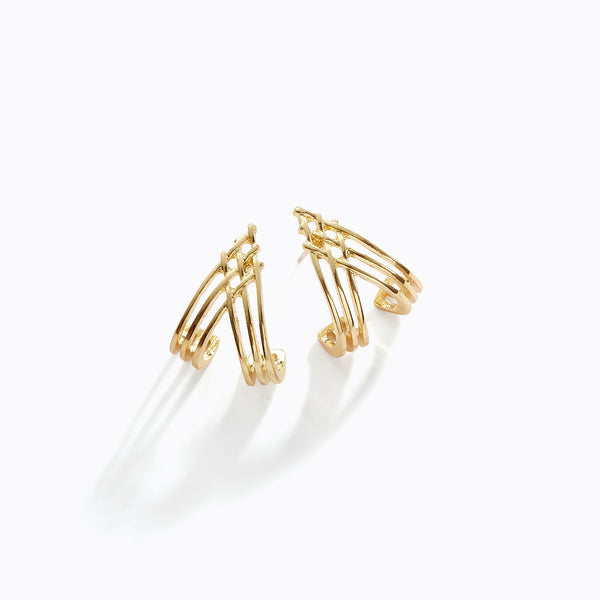 Interlocking Gold Cuff Earrings