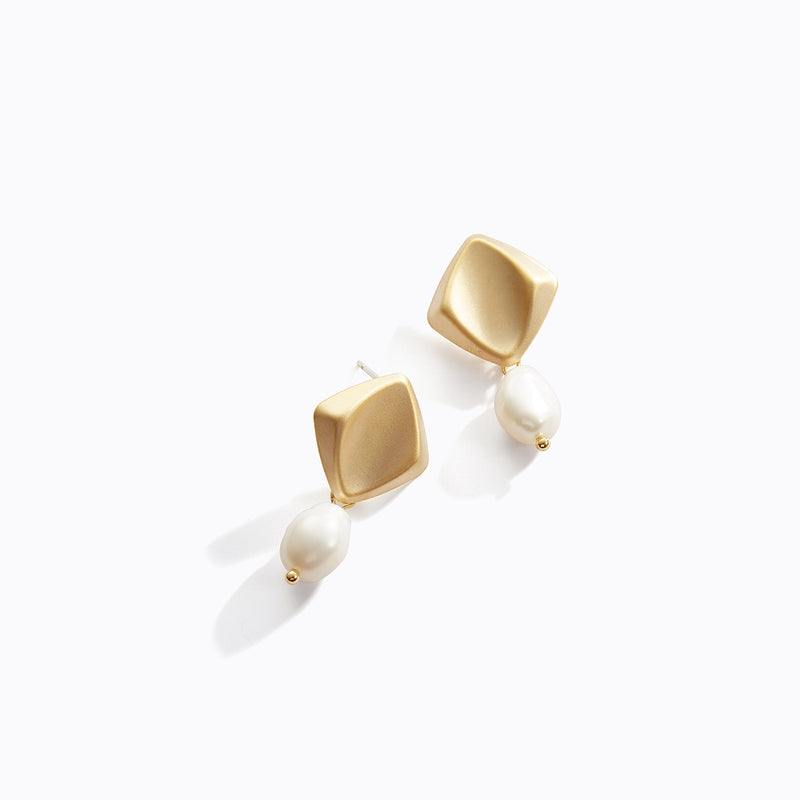Curved Gold + Pearl Earrings (Gold + Silver Variation)