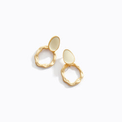 Textured Loop + Stone Earrings