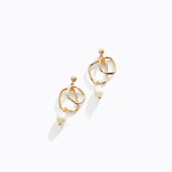 Double Loop Pearl Drop Earrings