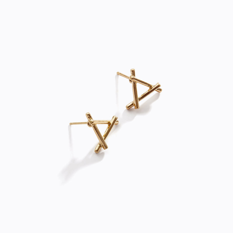 Criss Cross Triangle Studs