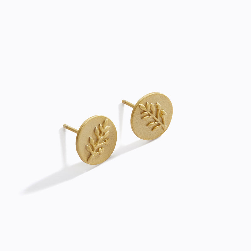 Plated Olive Branch Stud Earrings