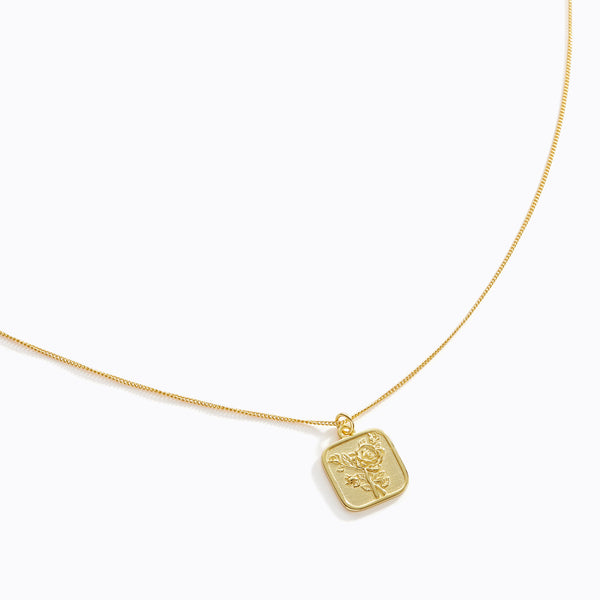 Square Rose Pendant Necklace