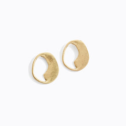 Rustic Semi-Circular Stud Earrings