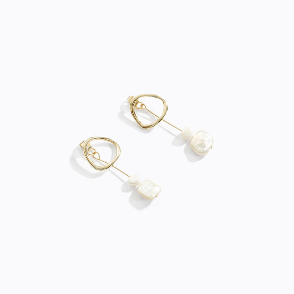 Circular Loop Pearl Drop Earrings