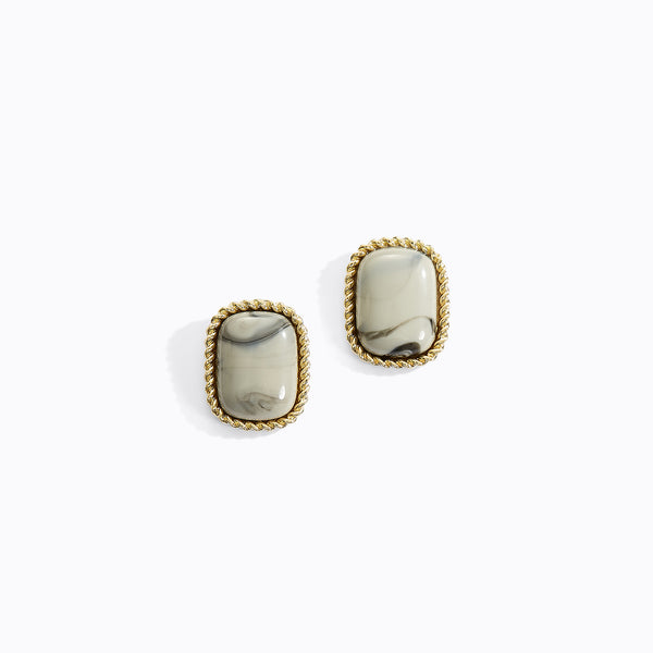 Square Retro Ochre Stud Earrings