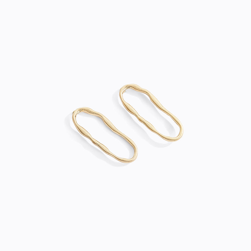 Textured Oval Hoop Studs