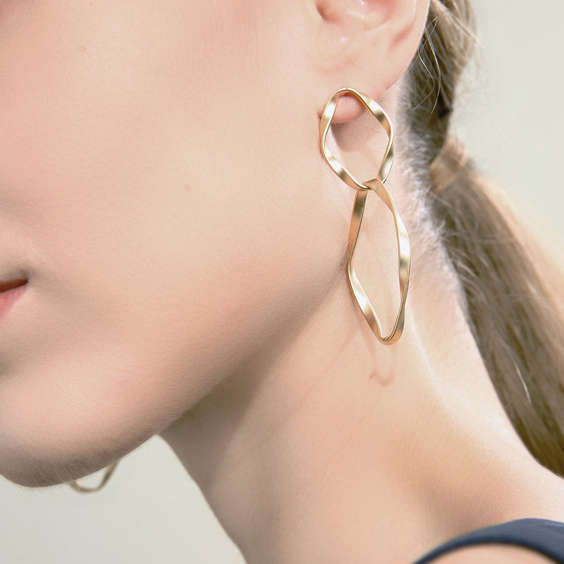 Interlocking Woven Hoop Drop Earrings