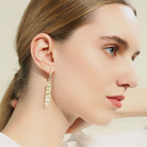 Asymmetric Gold and Pearl Elongated Earrings