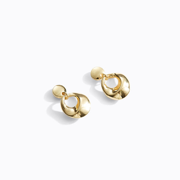 Circular Stud Hoop Drop Earrings