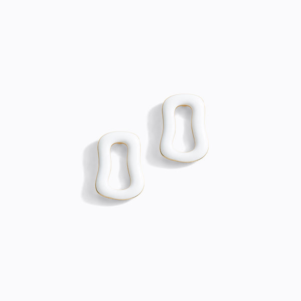 White Irregular Loop Stud Earrings