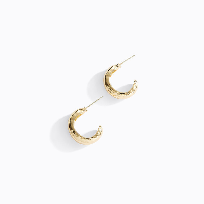 Hammer Textured C-Hoop Earrings