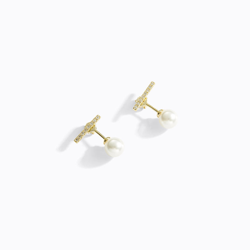 Bar & Pearl Stud Earrings