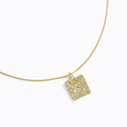 Textured Square Pendant Necklace