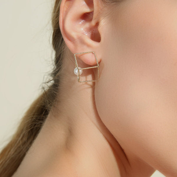 Pearl + Cube Stud Earrings