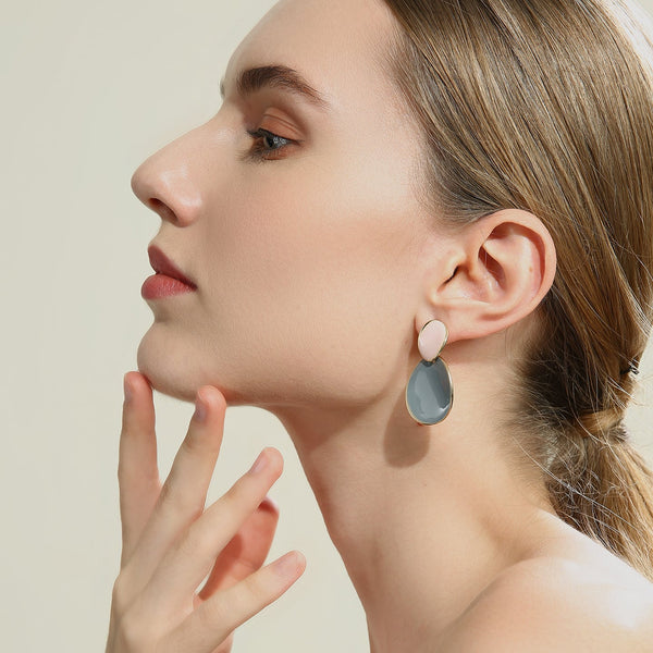Duo Coloured Circular Drop Earrings