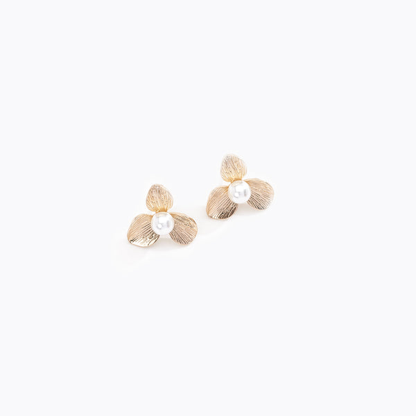 Gold Leaflet Pearl Studs