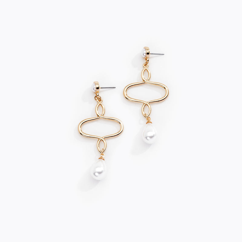 Wire Loop & Pearl Drop Earrings