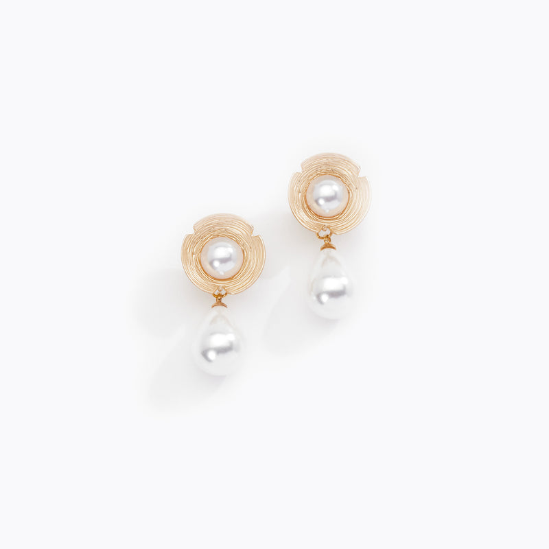 Geometric Pearl Cut Out Drop Earrings