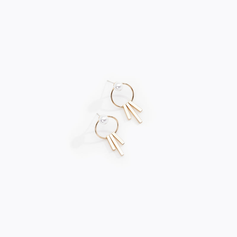 Hooped Pearl Stud Earrings