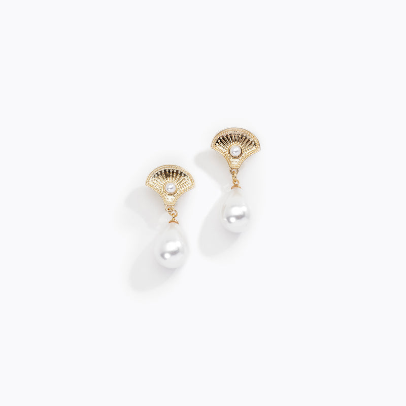 Egyptian Fan Pearl Drop Earrings