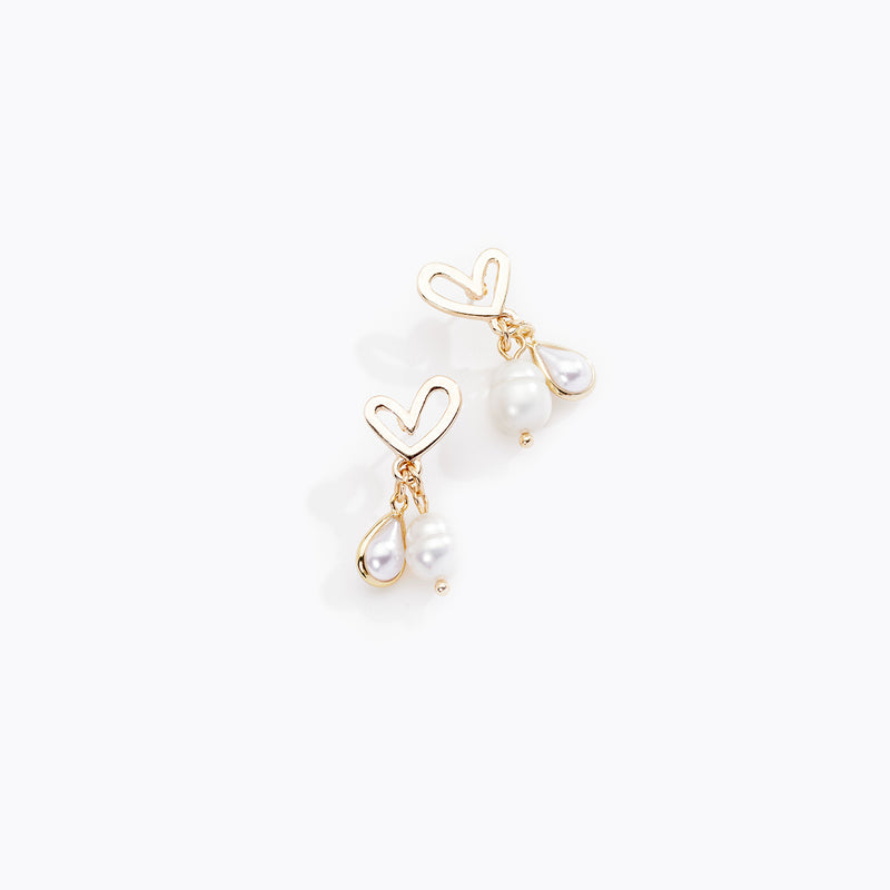 Heart Stud & Pearl Drop Earrings
