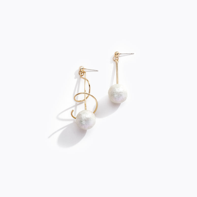 Asymmetric Spiral Pearl Drop Earrings