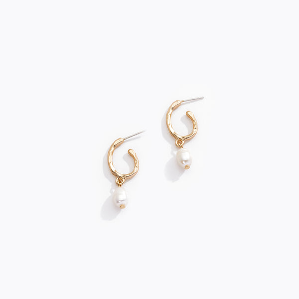 Incomplete Loop Pearl Earrings