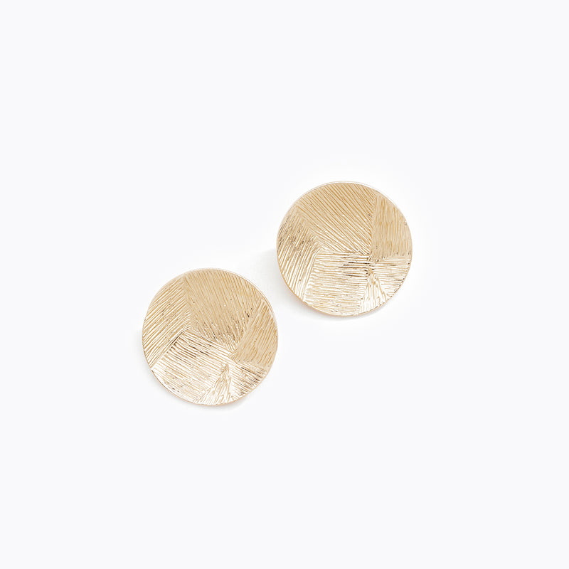 Textured Gold Plate Stud Earrings