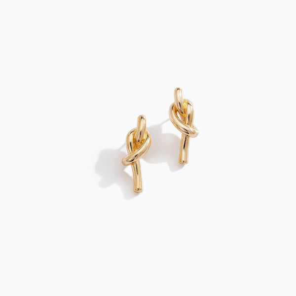 Gold Tone Tied Knot Stud Earrings