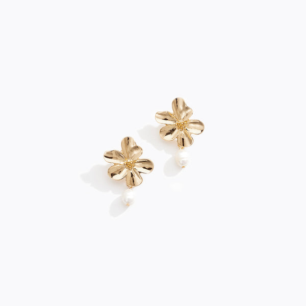 Gold Floral Pearl Stud Earrings