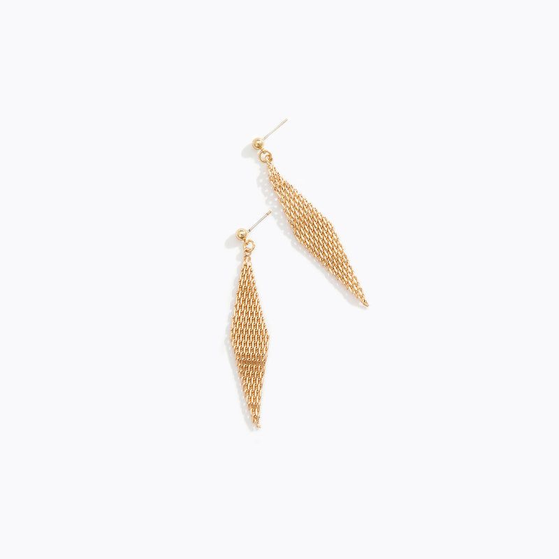 Spiral Gold Chained Drop Earrings
