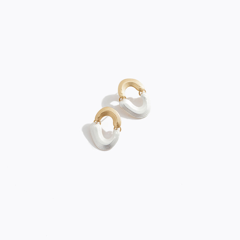 Duo Metal Hoop Stud Earrings