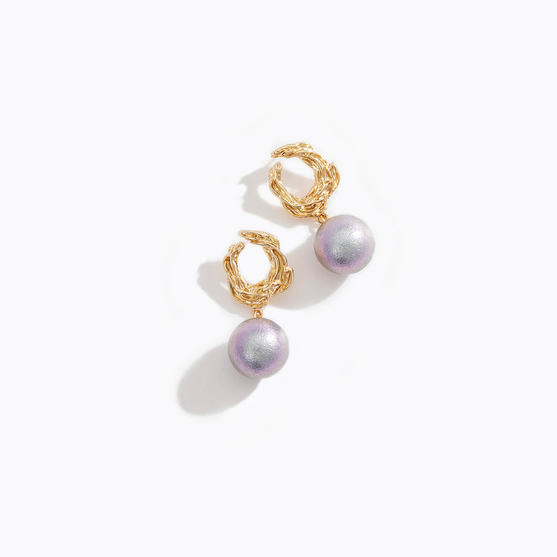 Duo Chrome Pearl Drop Earrings