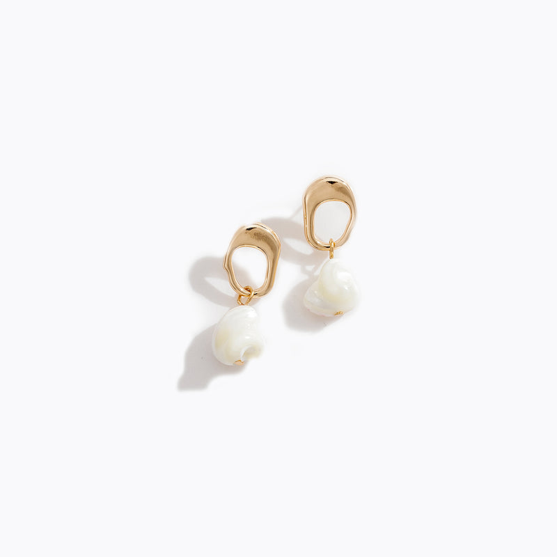 Gold Tone Hoop & Pearl Drop Earrings