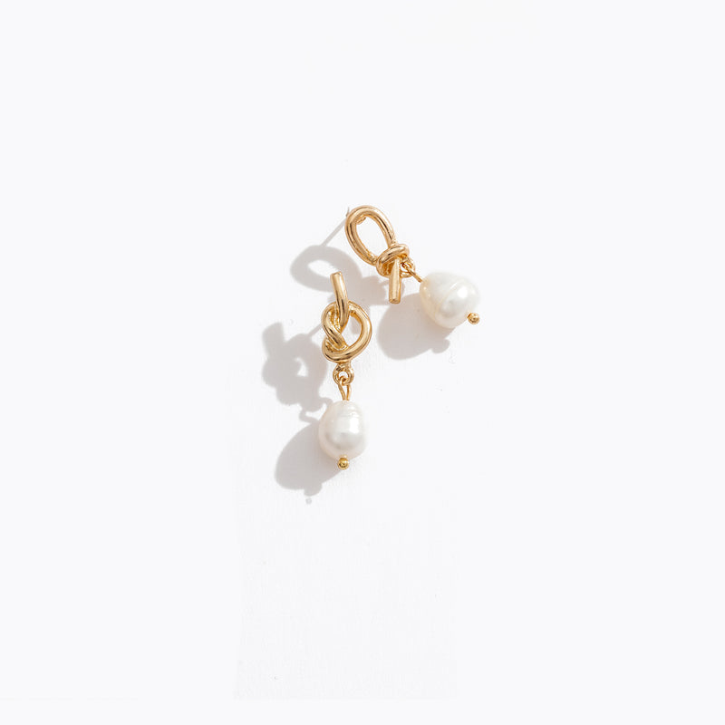 Looped Knot Pearl Earrings