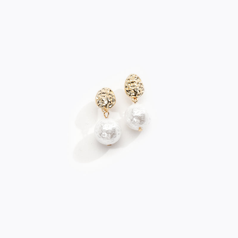 Textured Pearl Drop Earrings