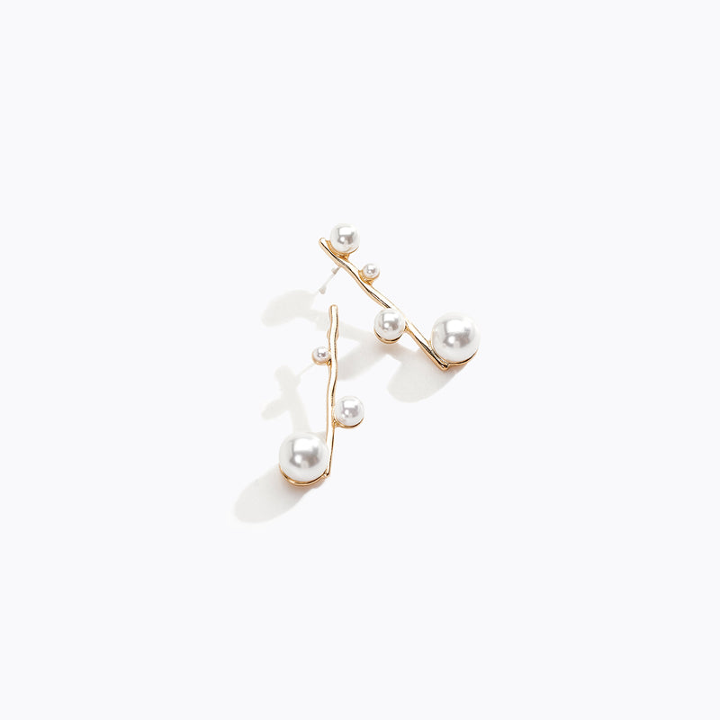Gold Tone Pearl Branch Stud Earrings