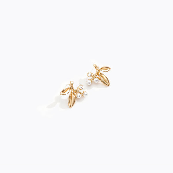 Gold Pearl Olive Branch Studs