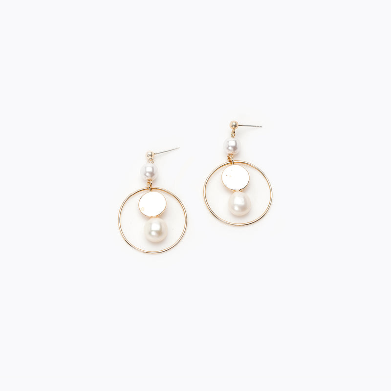 Duo Pearl & Hoop Drop Earrings