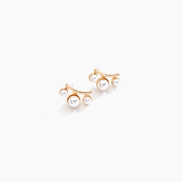Curved Bar & Pearl Stud Earrings