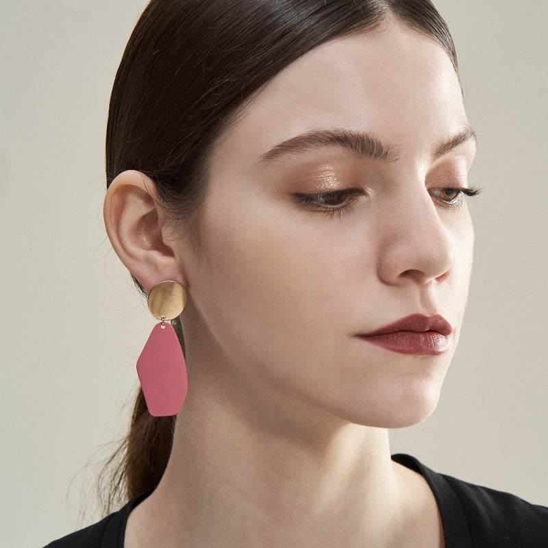 Pink Stone Drop Earrings